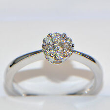 Diamantring 0,33 ct 750er Weissgold Verlobungsring Brillant Illusion Pavé Karat