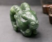 Chinese Vintage Hetian Green Jade Goat Head Bust Animal Totem Carving Amulet $$$