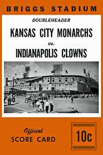 """Negro League Poster of Score Card Monarchs vs Clowns (1953) 10"""" x 15"""" Photo"""