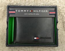 Tommy Hilfiger Men's Premium Leather Id Credit Card Coin Wallet Black