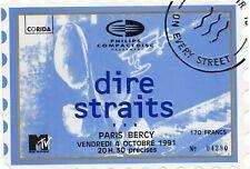 DIRE STRAITS TICKET BILLET CONCERT PARIS BERCY 4 OCTOBRE 1991 RARE COLLECTOR