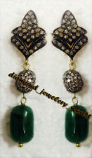 Studded Silver Dangler Earring Jewelry Victorian 3.60ct Rose Cut Diamond Emerald
