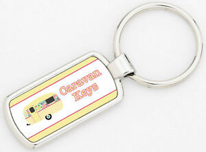 Rectangle Caravan Metal Keyring Keys Supplied With Gift Box Yellow Design