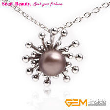10-11mm Pearl Beaded White Gold Plated Octopus Sunflower Pendant for Necklace