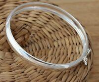 925 Sterling Silver Bangle Bracelet Plain 9 mm Wide Circle Shape UK Hallmarked