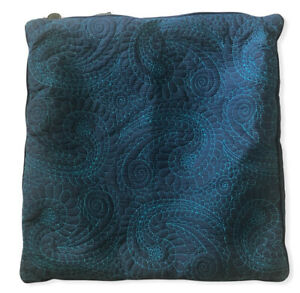 """Pier 1Pillow Sham Cover Navy Blue Turquoise Paisley Square 17"""""""