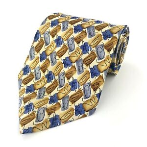 """Marco Selini Yellow Blue Silk Men's Tie Length: 58"""" Width: 4""""  (A65)"""