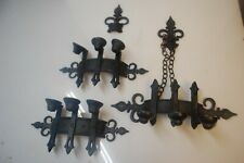 Sexton (2) & Homco (1) Gothic Sconces Black Metal Candle Holder Medieval 1960s