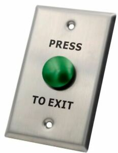 X2 Mushroom Exit Button, Stainless Steel - Large, N/O, SPST, Screw Terminal