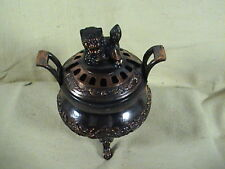 Vintage Bronze Foo Dog Incense Burner Lion's Feet, Heavy