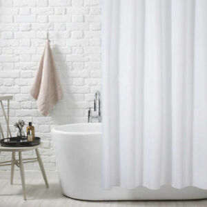 FABRIC Polyester SHOWER CURTAIN WATERPROOF WITH HOOKS WEIGHTED HEM 180 X 200CM