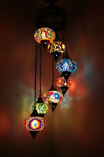 Multicolour Turkish Mosaic Hanging Lamp Light Hand Craft 4 Large 3 Medium Globe