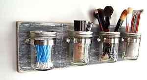 Mason Jar Decor: Bathroom Organizer for Toothbrush, Q-Tips, Makeup Brushes, etc.