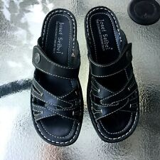 New Josef Seibel black leather sandals US size 7 EUR 37