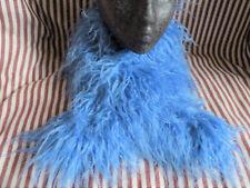 Gorgeous blue shaggy faux fur wrap neck scarf shrug