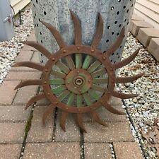 Vintage John Deere Rotary Hoe Wheel Steel Farm Industrial Decor Garden Sunflower