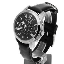 *NEW* MENS FOSSIL GRANT BLACK CHRONO LEATHER WATCH - FS4812 - RRP £129