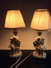 VINTAGE PAIR PIERROT CLOWN DOLL ART DECO NIGHT LAMP HARLEQUIN