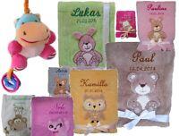 Babydecke mit Namen bestickt + Spielzeug Nilpferd Geschenk Geburt Taufe Baby