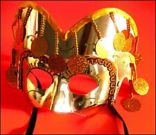 Fancy GOLD Masquerade Party Mask High Quality Moulded Plastic Hanging Sequins