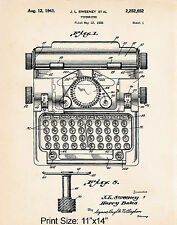 """Gifts For A The Writer Court Reporters Typewriter 11""""x14"""" Patent Art Print Gift"""