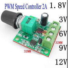 DC Motor 1.8V 3V 5V 6V 12V PWM Speed Controller 2A Potentiometer Knob Switch