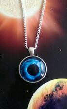 Taxidermy glass blue eye necklace silver cabochon cameo vintage goth Halloween 2