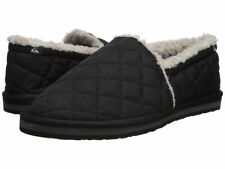 NWT Quiksilver SURF CHECK II SHOE Slip-On Slippers BLACK GREY Sherpa  MENS 8-13