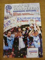 2001/2002 Bolton Wanderers: Official Handbook. Good condition unless previously