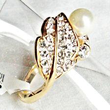 Super schöner Bicolor Perlen Kristall Blatt Damen Ring vergoldet