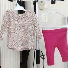 $50 NWT Baby Girl Ralph Lauren Layette Logo Outfit 2pc Set Flower Shirt Pants 6m