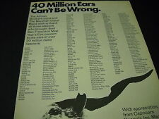 Allman Brothers and Marshall Tucker 40 million Ears 1974 Promo Display Ad mint