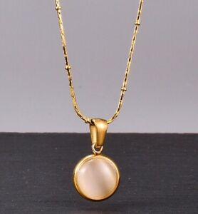 """Women Gold Plated Titanium Stainless Steel White Opal Round Necklace 16-18"""""""