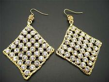 $38 Spring Street Rhinestone Studed Mesh Dangle Earrings Diamond Shaped Goldtone