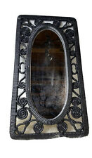 Vintage Black Wicker Mirror Wall Hanging #3337 Retro Rustic Syroco Resin Floral