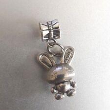 LOVE Rabbit Bunny HEART Ant. Silver Charm Pendant fits  European Style Bracelet