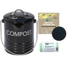 Mini Black 3 Litre Compost Caddy/Food Bin-50x6L Compostable Bags&2xFilters