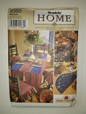 Simplicity 8350 Table Accessories Placemats Runner Tablecloth Chair Seat Pad