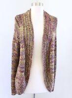 Chicos Marled Space Dye Keller Open Cardigan Sweater Size 2 Green Purple Mauve