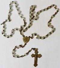 collier chapelet ancien perle nacré blanc médaille et croix gravé relief * 5090
