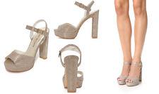 Stuart Weitzman Hi Heel Shoes Sashay Block Heel Sandal Platform Platinum Noir 8M