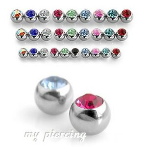 5pcs. 16G 14G Surgical Steel Threaded Replacement Gem Ball Body Jewelry Part