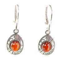 Natural Baltic Amber 925 Sterling Silver Dangle Earrings available in 4 colours
