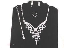 Silver Plated Rhinestone Bridal Elegant Necklace, Earrings, Bracelet, Ring Set