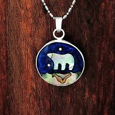 Artisan Abalone California Bear under a Blue Sky Pendant from Taxco Mexico