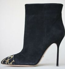 SERGIO ROSSI BLACK SUEDE ANKLE BOOTS  EU 37.5 UK 4.5 US 7.5