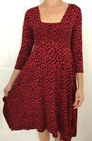 Masai Women Dress Size Large Red Love Heart Knee Length 3/4 Sleeve Jersey Stretc
