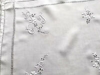 VINTAGE HAND EMBROIDERED MONOGRAMED ET WHITE LINEN TABLE CENTRE CLOTH 25X14.5""