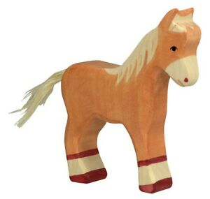 HOLZTIGER 80040: Light Brown Standing Foal Horse, Collectable Wooden Toy NEW