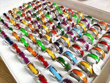 Wholesale 100pcs Bulk lots Colorful Enamel 7mm Stainless Steel Men Women Rings